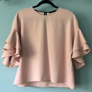 Zara Ruffled Bell Sleeve Top